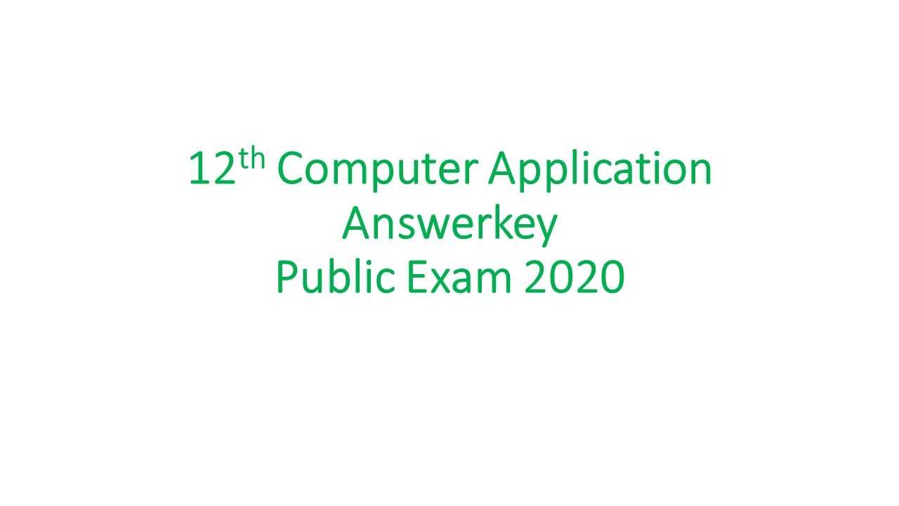 12th computer application answerkey