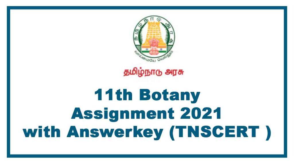 11th Botany Assignment Tamil Medium Tamilnadu 2021 Answer key